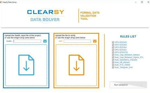 Interface de l'outil de validation formelle de données
